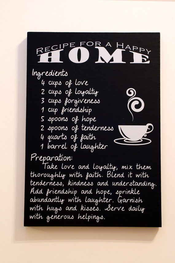 Customizable Recipe For A Happy Home Quote Typography Art