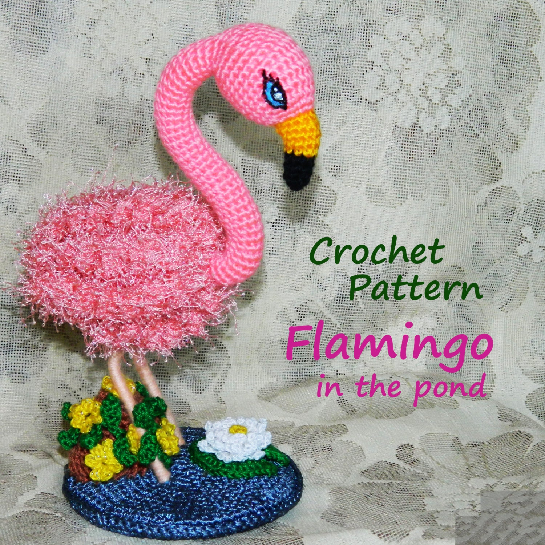 Amigurumi Hamburger Pattern Free : Amigurumi Pattern. Flamingo in the Pond. Crochet bird.