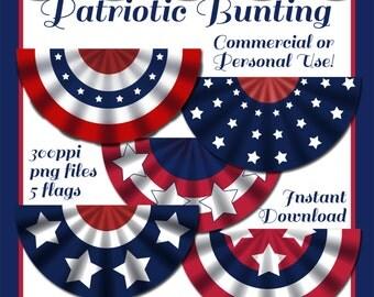 Patriotic Bunting, Patriotic Flags, Digital Download, Graphics, Patriotic Clip Art, Instant Download, July 4th Clip Art, Printables, Clipart