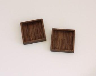 Bezel setting USA quality hardwood finished - Walnut - 1 Inch - 25.5 mm - Square - (F41-W) - Set of 2