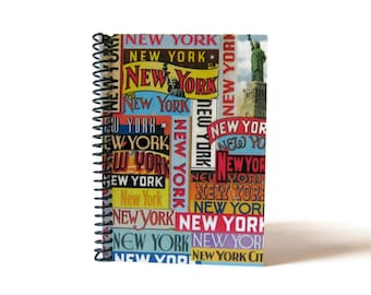 New York Labels, Travel Journal, Blank Sketchbook, Writing Journal, Spiral Notebook, Pocket Notebook, Back to School, Gifts Under 15