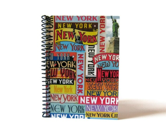 New York Labels Travel Writing Spiral Bound Journal Diary, Blank Sketchbook, Pocket Cute Notebook, A6, Back to School, Travel Gifts Under 15