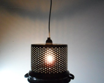 Enamelware Swag Lamp Repurposed Strainer/Colander Country Chic