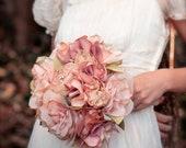 RESERVED Fabric Bouquet, Medium Fabric Flower Bouquet, Rustic Bouquet, Wedding Bouquet, Alternative Bouquet