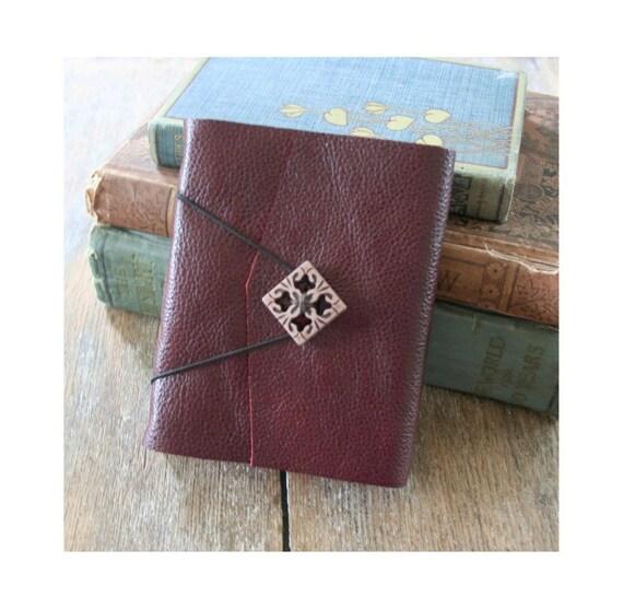 Leather Journal . THE WRITER - Gloria Steinem quote . handmade handbound . burgundy (320 pgs)