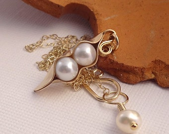 Pea Pod Necklace in Gold handmade with two white freshwater pearls