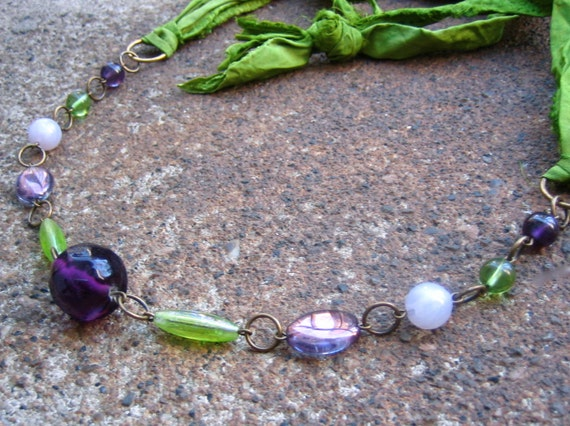Laughter Silk Ribbon Necklace - Silk Ribbon from Recycled Saris and Vintage Glass Beads in Purples and Greens (Eco-Friendly)