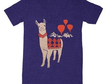 Llama - V-neck T-shirt Mountain Folkloric Red Hot Air Balloon Folk Animal Retro Cute Peru Alpaca Nature Vneck Tee Shirt Blue Indigo Tshirt