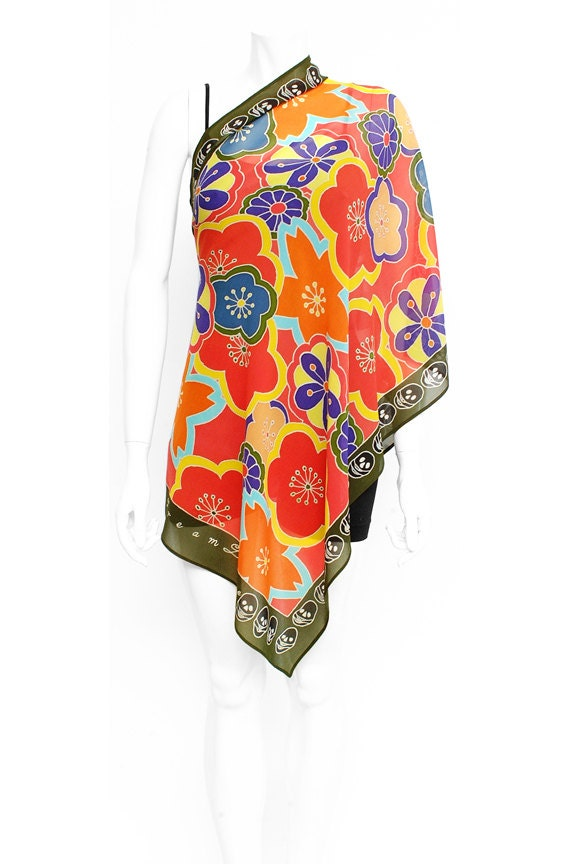 Silk Scarf Handpainted, Japanese scarf,  Hand made, Flowers scarf, skull scarf, Luxury Scarf, Batik scarf, Fashion scarf, Girlfriend gifts