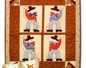 Cleo and Me Ropin Cowboys 402 Quilt and Pillow Pattern Rodeo UNCUT Sewing Pattern 2004