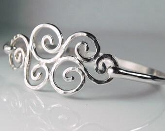 Silver Swirl Bracelet - Spiral Waves Bracelet - Handcrafted Sterling Silver Hook Bangle Jewelry - Handcrafted Nautical Sea Ocean Waves