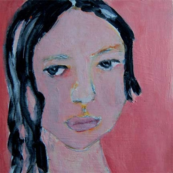 Acrylic Portrait Painting Robbie, Girl, Face, Black Hair, Peachy pink, 6x6 canvas board