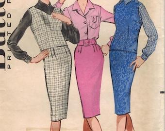 1950s Butterick 9077 Vintage Sewing Pattern Misses Blouse, Top, Pencil Skirt, Jerkin Size 12 Bust 32