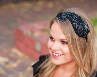 Black Art Deco Headband by Bethany Lorelle on Etsy