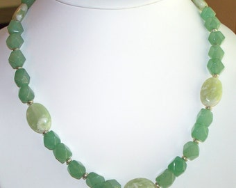 Harmony Jasper, Green Aventurine and Sterling Silver Necklace