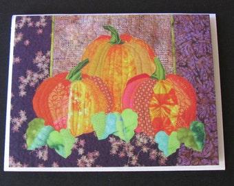 Art Quilt Card - Holiday Pumpkins - Celebrate Fall Autumn Harvest Halloween Thanksgiving