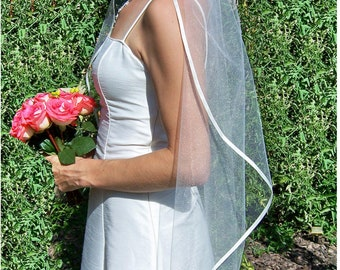 Satin Ribbon Veil, Satin Wedding Veil, Fingertip Veil, Ribbon Edge Veil, Ribbon Veil, Satin Wedding Veil, Soft Tulle -  High Quality