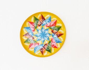 Aztec Tribal Geometric Souvenir Tray / Wooden Tray Boho Wall Hanging / Costa Rican Souvenir Art / Rainbow Colors