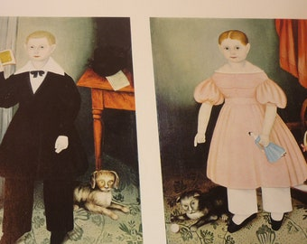 Vintage Folk Art Print - The Smith Kids - Fine Art Print -