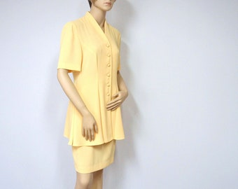 1970's Suit Women's Yellow Suit Vintage 1970's Jacket and Skirt Size 6