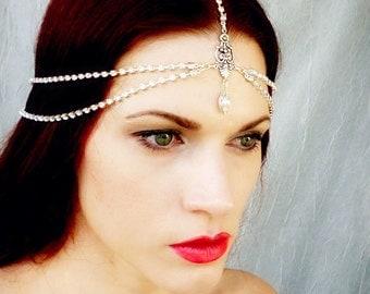 Vintage Rhinestone Art Deco Flapper Headpiece - Bridal Wedding Headdress - Silver Crystal - Great Gatsby