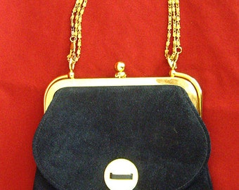 Free Shipping, Triangle New York Navy Blue Suede Leather Sailor Handbag,  Purse, Gold Shoulder Chain, Women's Ladies Accessories