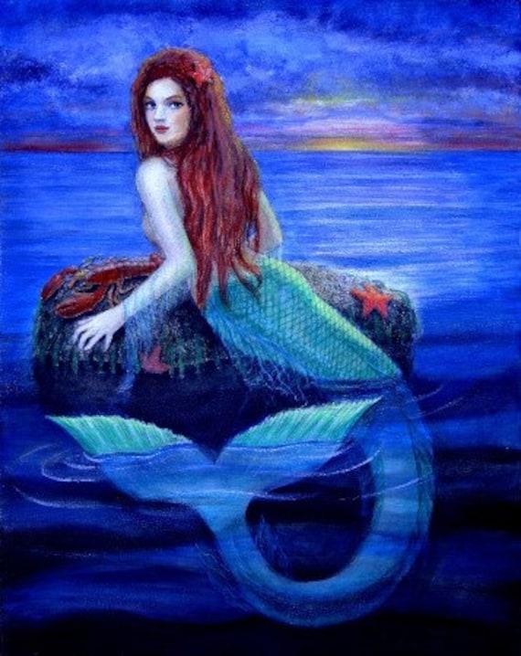 items similar to mermaid art blue ocean fantasy beautiful
