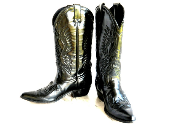 Seychelles Eagle Cowgirl Boots // Black Leather Wing Tip Pointy Toes (8 1/2)