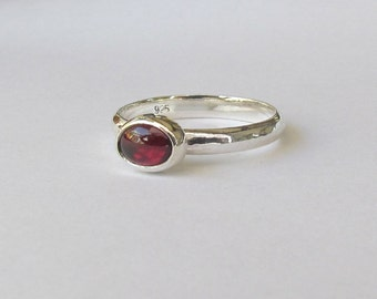 Oval Garnet and Sterling Silver Ring