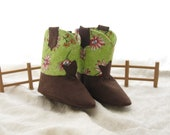 Handmade Pink Daisy Baby Cowgirl Boots with BootStraps