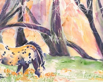 Horse Watercolor Appaloosa Fine Art - Costilla New Mexico Pony -  watercolor panoramic equine giclee 11x22