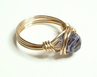 Amethyst  Gold Handmade Wire Wrapped Ring Sizes 1-14