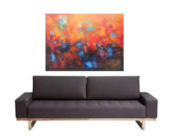 Large oil abstract by Katya Trischuk  oil painting 40x30 Abstract oil on canvas contemporary fine art for urban homes office gift