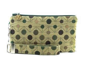 Polka dot clutch - summer bag for women - small purse 2 piece set with green zipper pouch & key fob - limited edition modern fabric wristlet