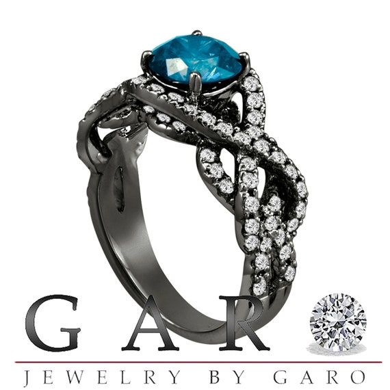 Fancy Blue Diamond Engagement Ring 14K Black Gold by JewelryByGaro