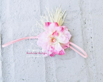 baby headband, newborn headband, pink flower headband, infant headband, photo prop