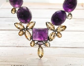 Amethyst Big Glamorous Necklace, Amethyst & Citrine Gemstone Glamorous Bijoux, Statement Necklace, February Birthstone Fine Jewery Gift Idea