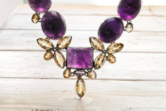 Amethyst Big Glamorous Necklace, Amethyst & Citrine Gemstone Glamorous Bijoux, Statement Necklace, February Birthstone Fine Jewery Gift Idea