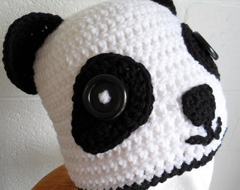 Panda Hat with Ear Flaps - Halloween Cuteness - Made to Order
