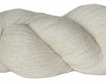 SUPER-SIZED SKEIN! Royal Baby Alpaca Yarn Lace Weight in Natural White 1675 yards