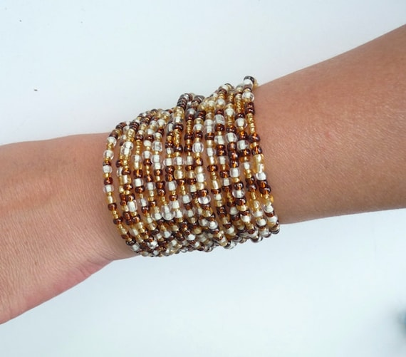 Wide bangle cuff bracelet beaded armor shield glass