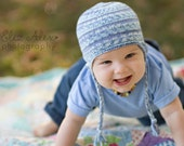Knit Earflap Hat, Braids Blue White Multicolored, Blue Earflap Hat Baby Boy Knit Hat Boys Knit Hat, Custom Order, Newborn to 5 Years Size