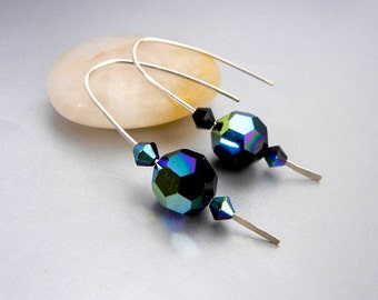 Blue crystal earrings with sterling silver hammered wire in jewel tones with greens, blues & purples