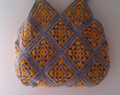 Grey Mustard Yellow , Handmade Crochet Handbag Fashion Black Friday Etsy Sale