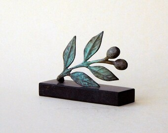 Small Bronze Olive Branch, Metal Art Sculpture, Goddess Athena Symbol, Ancient Greece, Olives, Museum Quality Art, Home Decor