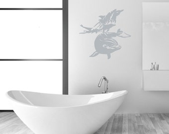 Dolphins Swimming Vinyl Wall Decal - Dolphins Wall Decal - Nautical Wall Decal- Beach Decor 22308