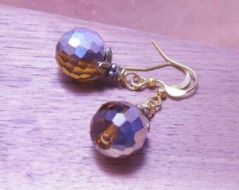 Vintage  Amber Crystal Earrings