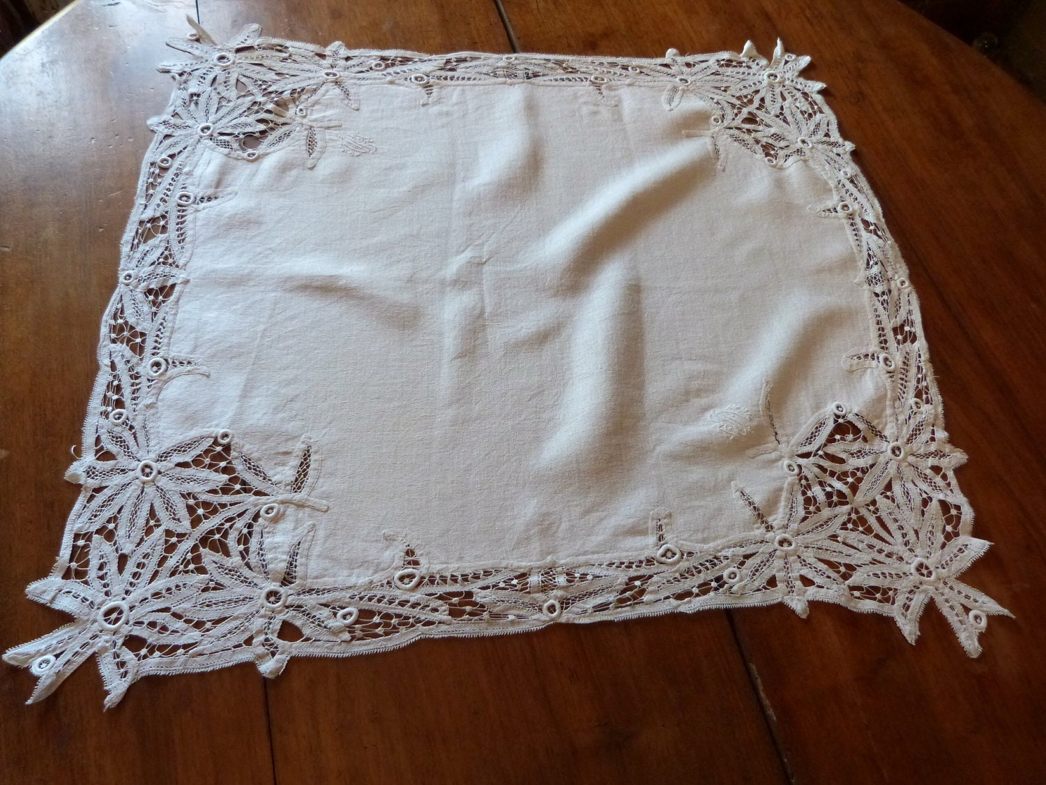 Antique French Battenburg Lace Tablecloth Doily Handworked W