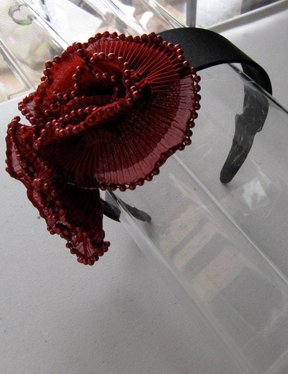 Red Beaded Chiffon Flower Black Satin Headband, for weddings, parties, evening, cocktail, special occasions