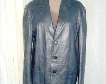 Vintage blue leather jacket great condition for men or women Fall or spring